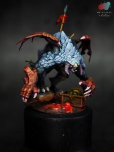 Dota 2 Roshan Model Painted by Melbourne Mini Painter on a display stand
