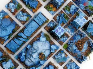 Kingdom Death Terrain in ghostly blue shades painted by Melbourne Mini Painter