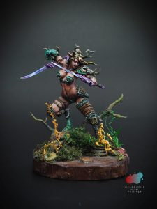 Faun Female Warrior painted by Melbourne Mini Painter