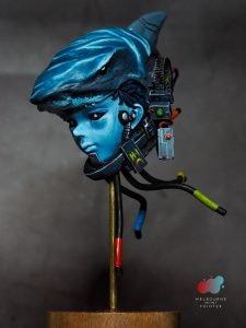 Cyber tech boy wearing a shark helmet model, painted by Melbourne Mini Painter