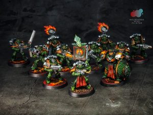 Salamander Space Marines painted by Melbourne Mini Painter, sculpted by Games Workshop